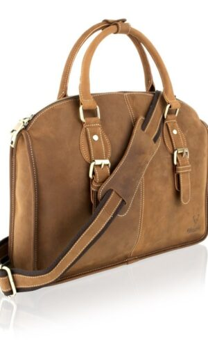 15 '' Leather Laptop Bag with Double Handle