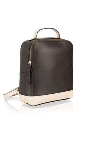 Textured genuine leather smart zipped compact rucksack